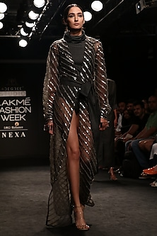 Charcoal Grey Baadla Work Cape Shirt Dress with Suiting Body Suit by Nikita Mhaisalkar