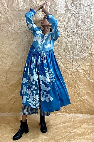 Powder Blue Printed Gathered Dress by Nida Mahmood