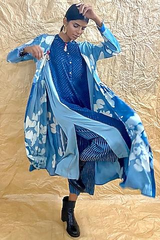 Indigo Blue Printed Culotte Pants by Nida Mahmood