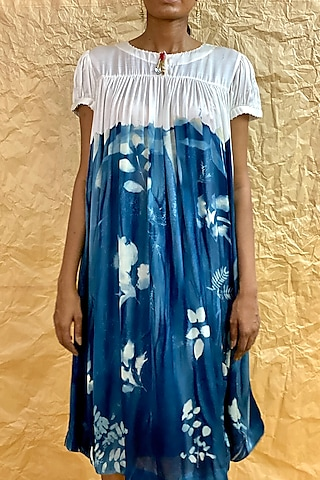 Sky Blue Dip-Dyed & Printed Dress by Nida Mahmood