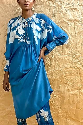 Powder Blue Floral Printed Tunic by Nida Mahmood