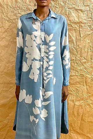 Indigo Blue Floral Printed Salwar Pants by Nida Mahmood