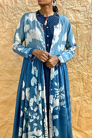 Sky Blue Printed Dress With Front Opening by Nida Mahmood