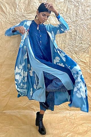 Indigo Blue Ajrakh Printed Kurta by Nida Mahmood