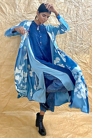 Indigo Blue Ajrakh Printed Culotte Pants by Nida Mahmood