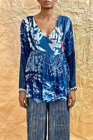 Indigo Blue Printed Angrakha Top by Nida Mahmood