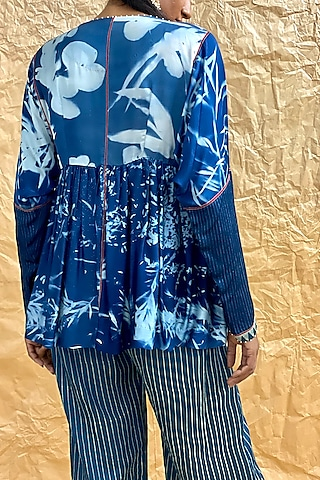 Indigo Blue Printed Loose Fit Pants by Nida Mahmood