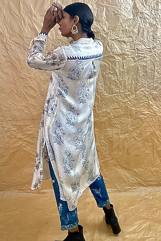 Ivory Printed & Embroidered Dress by Nida Mahmood