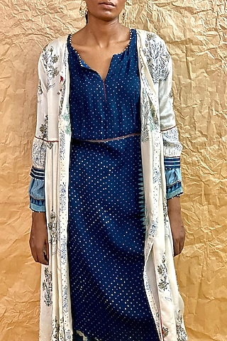 Ivory Printed Gathered Dress by Nida Mahmood