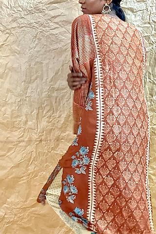 Rust Orange Ajrakh Printed Kurta by Nida Mahmood