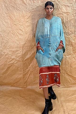 Powder Blue Printed & Embroidered Dress by Nida Mahmood