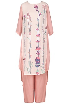 Peach High Low Embroidered Tunic by Nida Mahmood