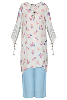 Light Blue Embroidered Full Sleeves Tunic by Nida Mahmood