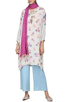 Light Blue Embroidered Full Sleeves Tunic by Nida Mahmood