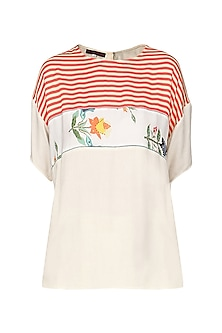 Off White Embroidered Top by Nida Mahmood