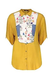 Mustard Yellow Embroidered Top by Nida Mahmood