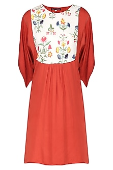 Red Embroidered Dress by Nida Mahmood