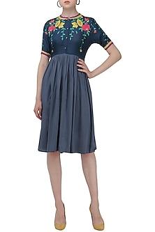 Grey Blue Floral Digital Print Knee Length Dress by Nida Mahmood