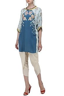 Dark Blue Floral Digital Print Tunic by Nida Mahmood
