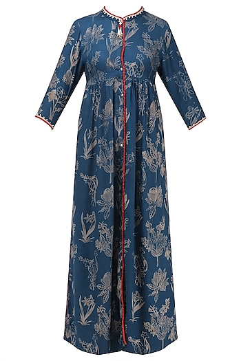 Dark blue hand printed asymmetrical dress by Nida Mahmood