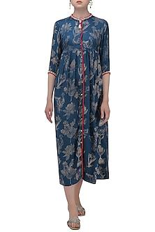 Dark blue hand printed asymmetrical dress by Nida Mahmood