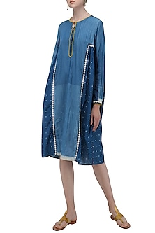 Blue Resist Print Knee Length Dress by Nida Mahmood