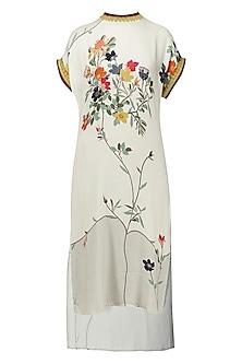 White High-Low Printed Midi Dress by Nida Mahmood