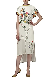 White High-Low Printed Midi Dress by Nida Mahmood