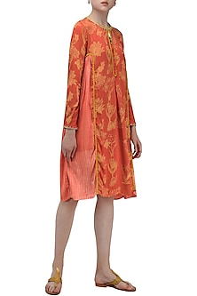 Red hand printed tassels and lace detailed tunic by Nida Mahmood