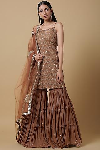 Cinnamon Brown Embroidered Sharara Set by Neha and Kriti