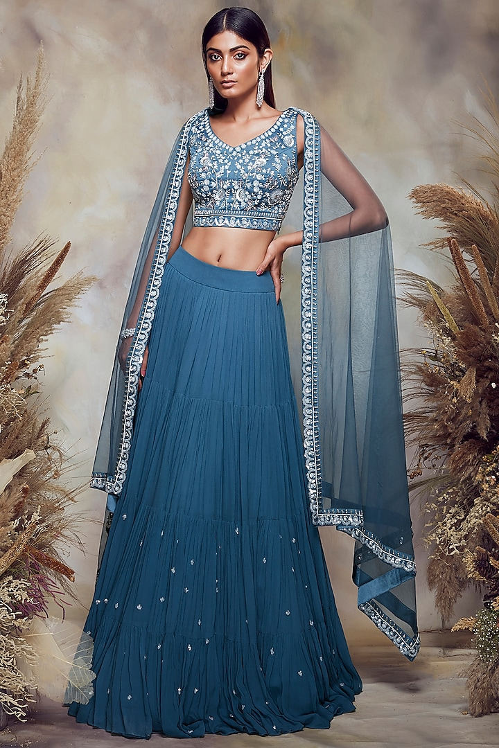 Prussian Blue Embroidered Tiered Lehenga Set by NIAMH by Kriti