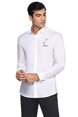 White Hand Embroidered Shirt by NOONOO