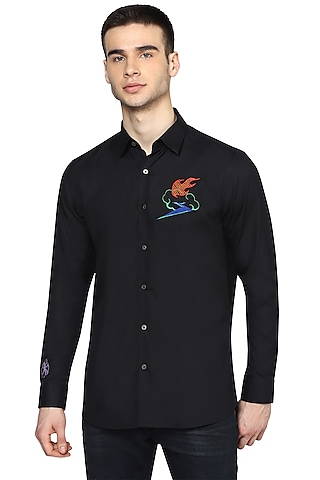 Black Cotton Floral Embroidered Shirt by NOONOO