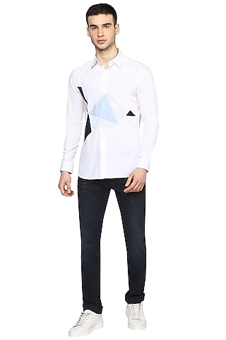 White Printed Shirt With Applique Work by NOONOO