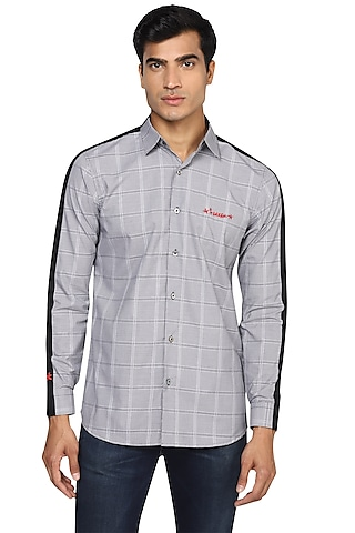 Grey Checkered & Embroidered Shirt by NOONOO