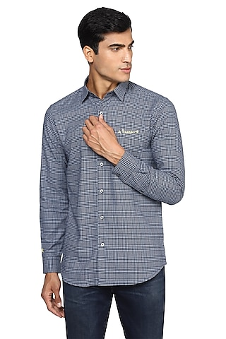 Dark Blue Checkered & Embroidered Shirt by NOONOO