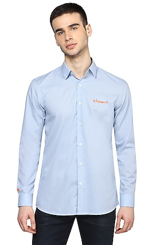 Sky Blue Checkered & Embroidered Shirt by NOONOO