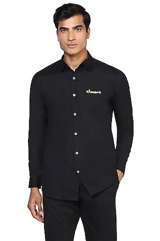 Black Zari Embroidered Shirt by NOONOO