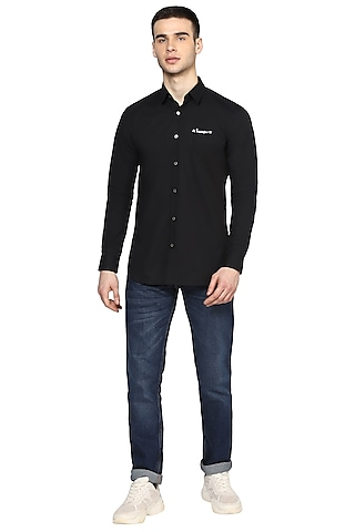 Black Silver Embroidered Shirt by NOONOO