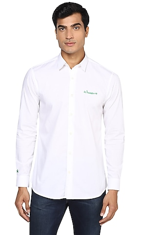White Embroidered Shirt by NOONOO