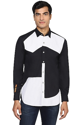 Black & Grey Embroidered Shirt by NOONOO
