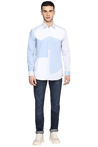 Sky Blue & White Embroidered Shirt by NOONOO