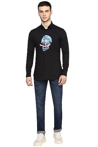 Black Printed & Sprayed Shirt by NOONOO