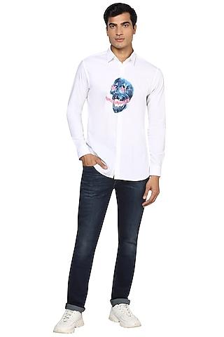 White Printed & Sprayed Shirt by NOONOO