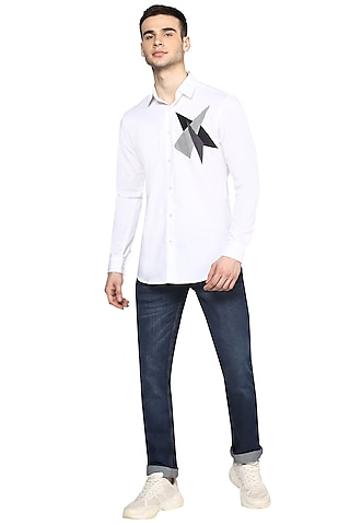 White Embroidered Shirt With Applique Work by NOONOO