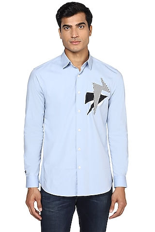 Sky Blue Embroidered Shirt With Applique Work by NOONOO