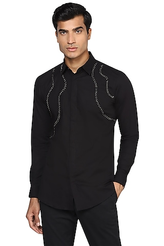 Black Hand Embroidered Shirt by NOONOO