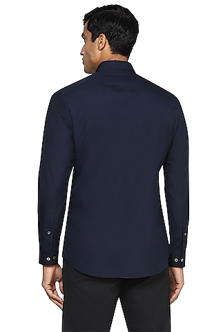 Navy Blue Hand Embroidered Shirt  by NOONOO
