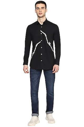 Black Embroidered Shirt by NOONOO