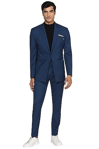 Airforce Blue Embroidered Blazer With Patch Pockets by NOONOO